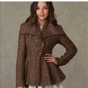 Free People Patricia Peplum Coat size 8